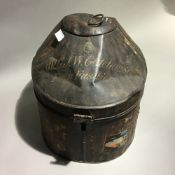 A Victorian military hat tin