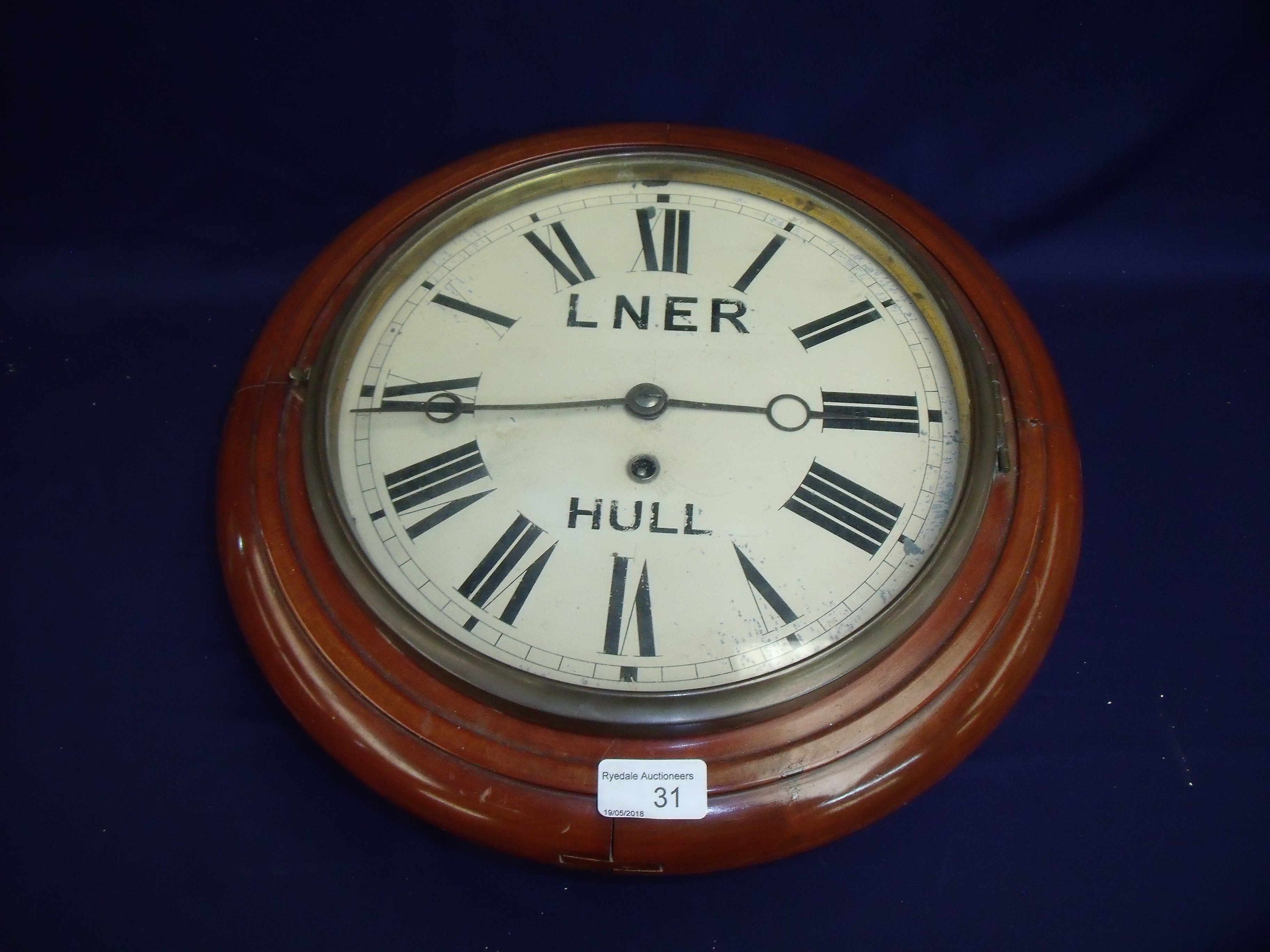 Victorian Station Style Wall Clock With Stencil Markings