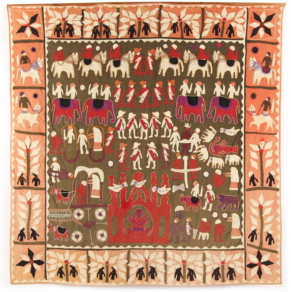 Lot 8 - A primitive cotton applique panel or wall hanging, possibly North African, 58ins. (147cms.)