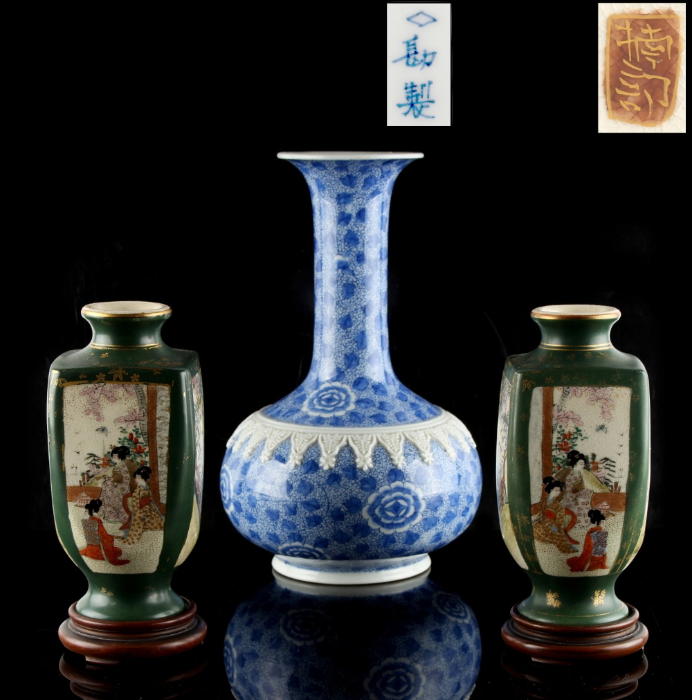 Lot 46 - A pair of Japanese Satsuma vases, Meiji period (1868-1912), of rounded square section with green