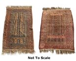 Lot 30 - Property of a gentleman - two Belouch prayer rugs, mid 20th century, 56 by 41ins. (142 by 104cms.)