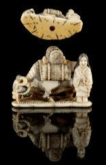 Lot 59 - The Ronald Hart Collection of Japanese Netsukes - a carved ivory netsuke modelled as a girl