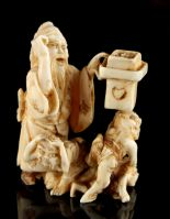 Lot 60 - The Ronald Hart Collection of Japanese Netsukes - a carved ivory netsuke modelled as a standing