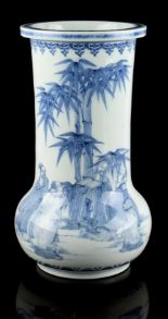 Lot 45 - A Japanese Hirado blue & white vase, Meiji period (1868-1912), painted with figures standing by