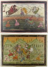 Lot 6 - Property of a lady - a pair of Indian paintings on silk depicting tiger hunts, the paintings each