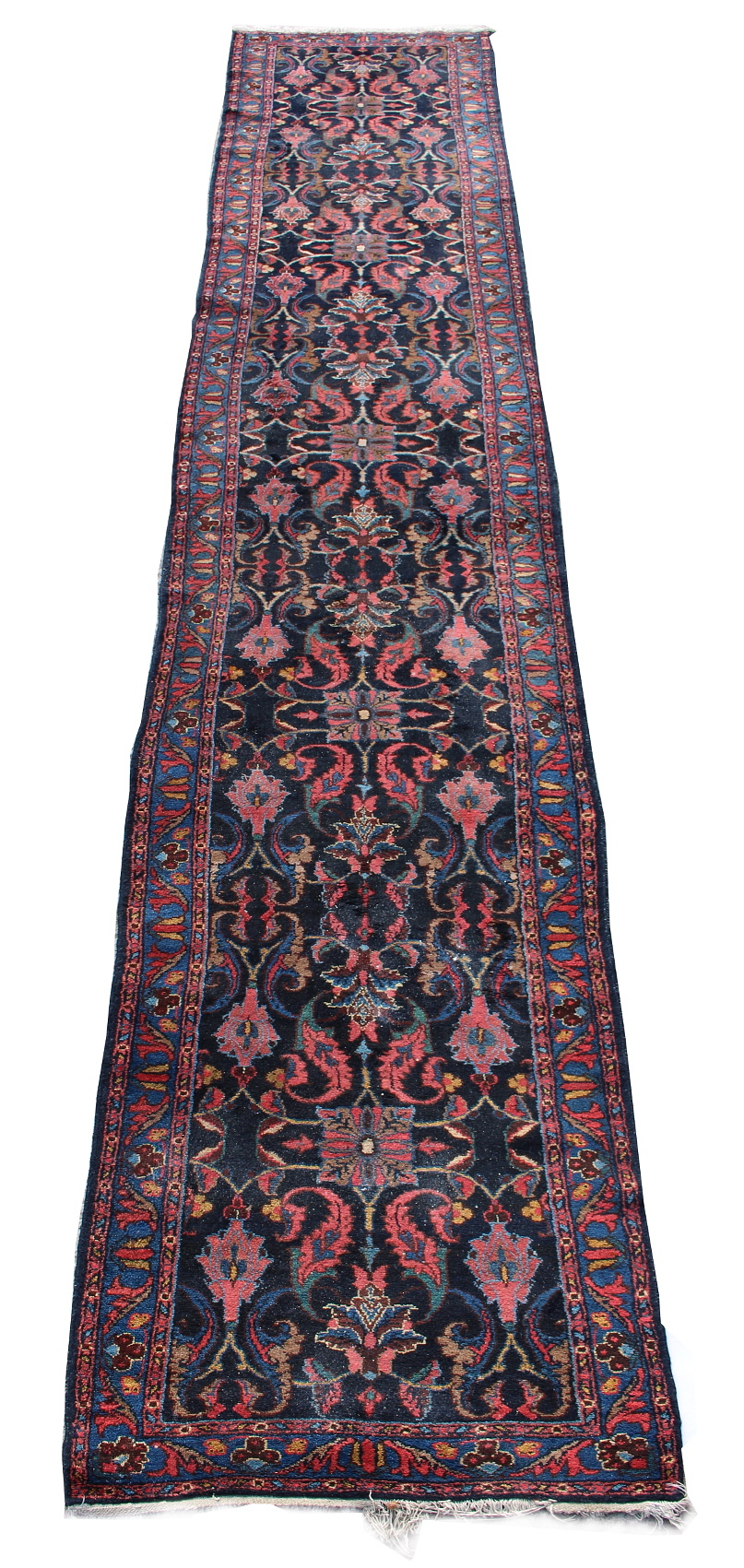 Lot 21 - Property of a lady - a Hamadan runner, mid 20th century, with dark navy ground, 213 by 39ins. (541
