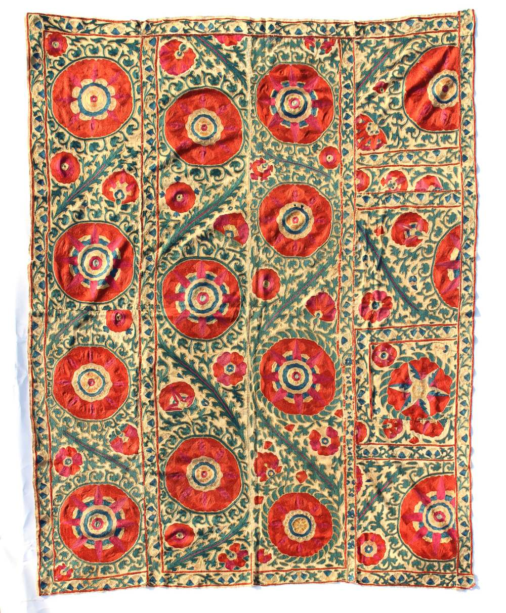 Lot 15 - Property of a lady - an antique susani, Uzbekistan, late 19th century, 67 by 52ins. (171 by 133cms.)