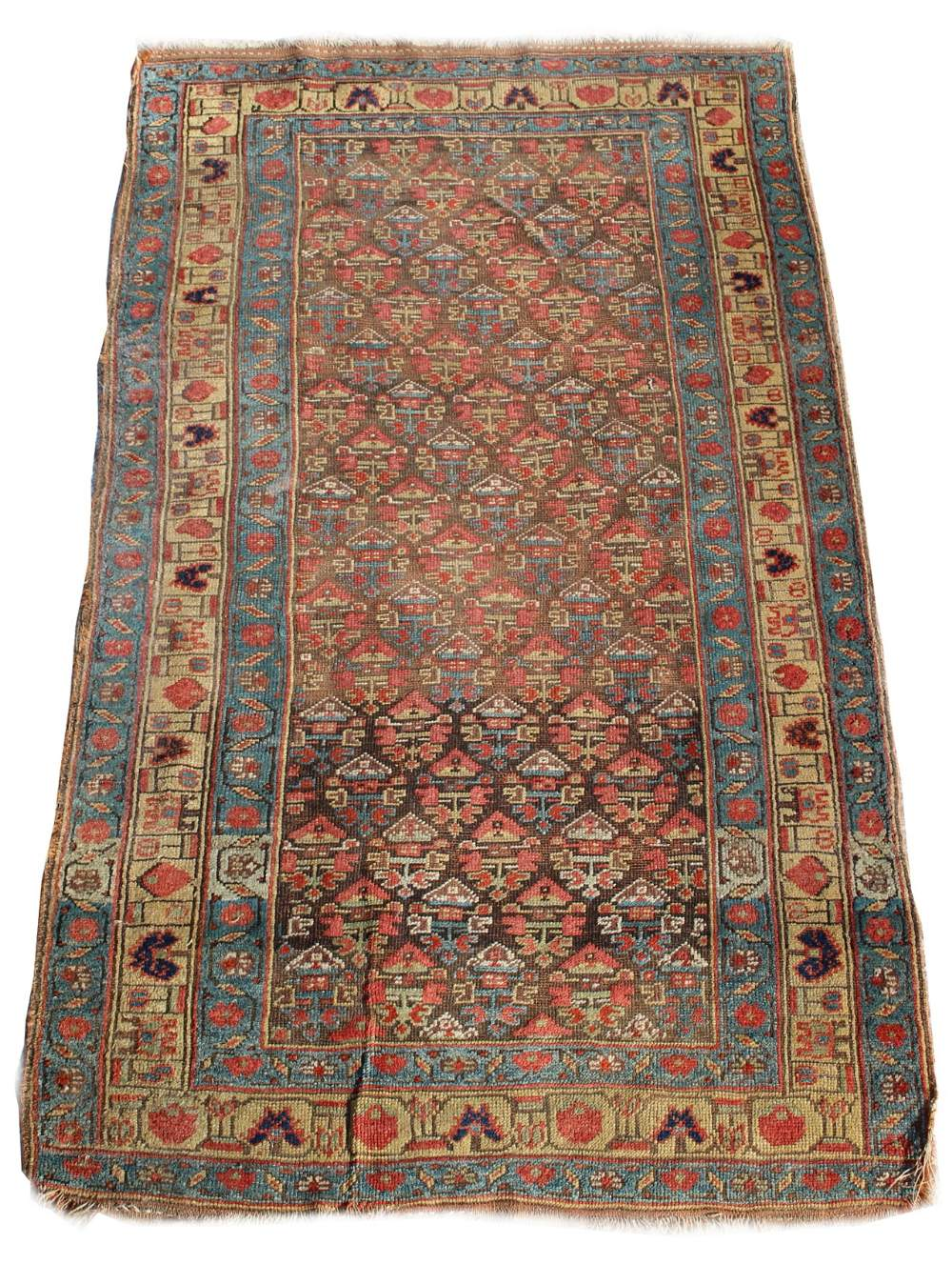 Lot 35 - Property of a gentleman - a late 19th century Anatolian rug, worn, 83 by 47ins. (211 by 120cms.) (