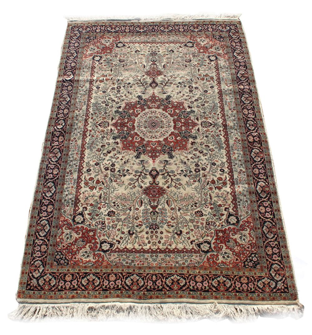 Lot 17 - Property of a gentleman - a Persian carpet of Qum design, 96 by 60ins. (244 by 153cms.) (see