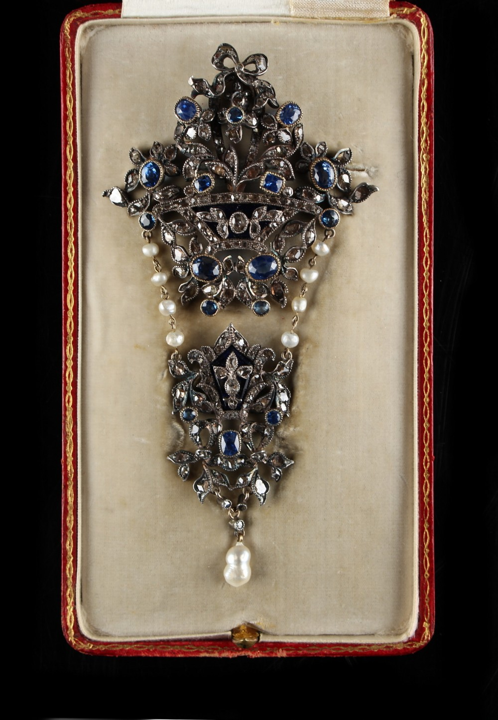 Lot 243 - An impressive 19th century Continental sapphire diamond & pearl foliate pendant brooch, of large