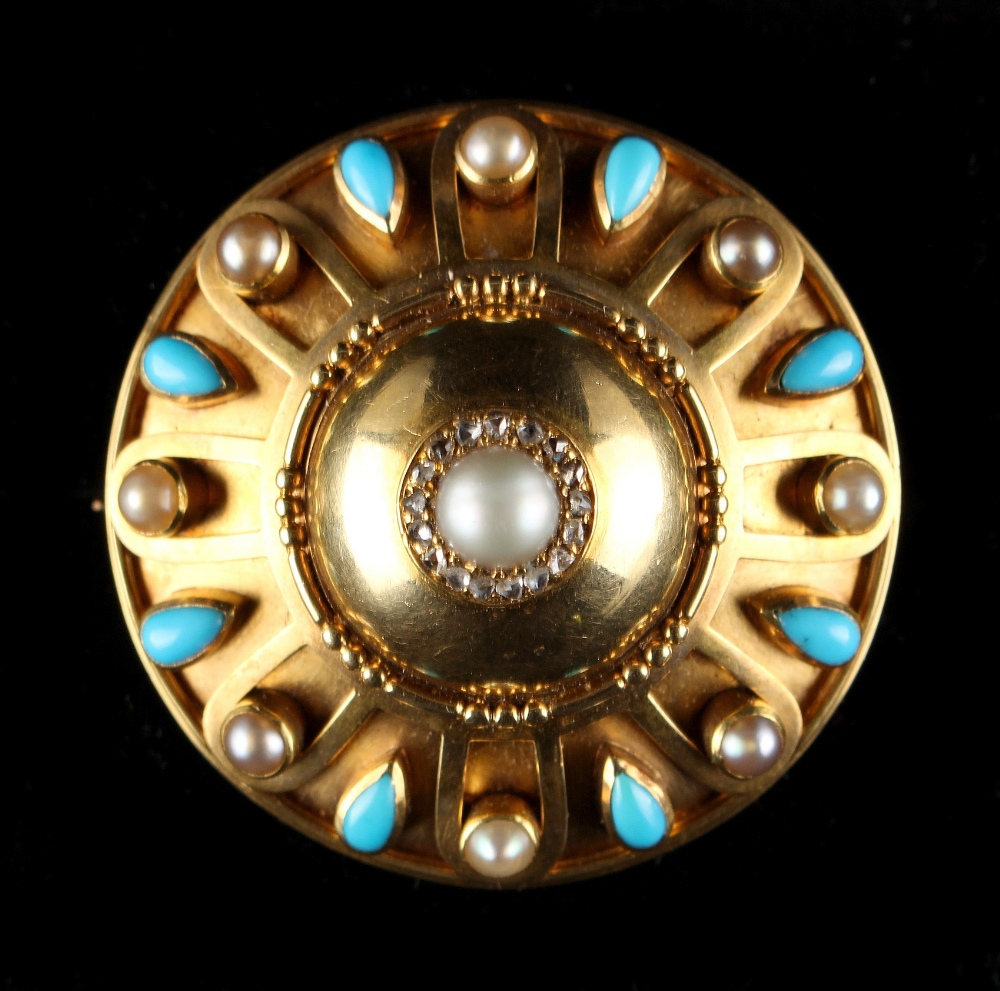 Lot 238 - A Victorian yellow gold turquoise pearl & diamond set circular brooch, circa 1870, with centre pearl