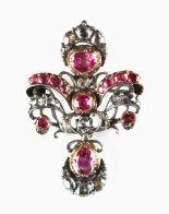 Lot 250 - A good Georgian ruby & diamond pendant or brooch, circa 1770, set with thirteen certificated