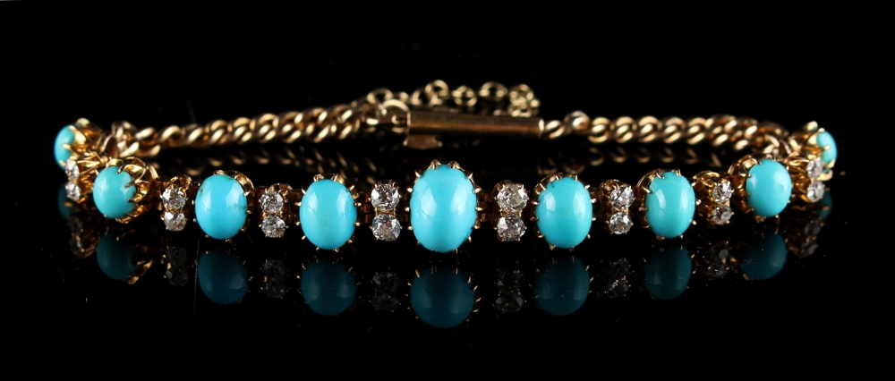 Lot 266 - A Victorian 18ct yellow gold turquoise & diamond bracelet, circa 1890, with oval graduated turquoise