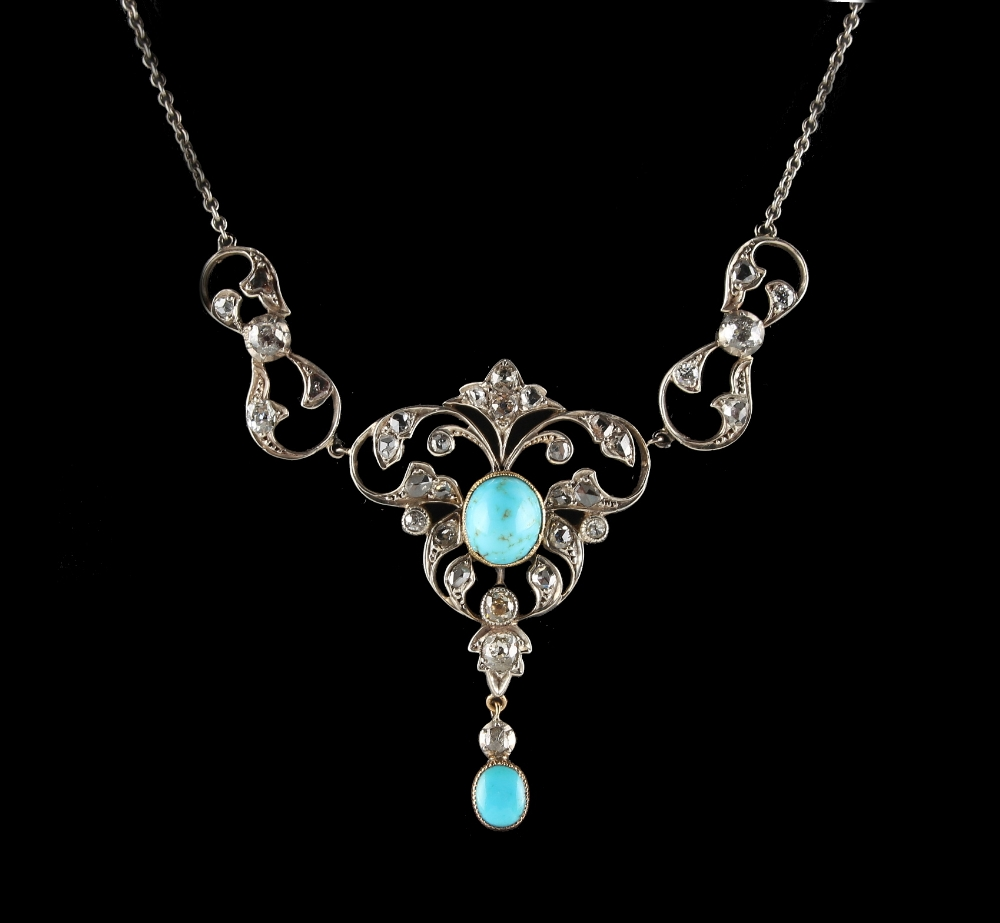 Lot 261 - A Belle Epoque style diamond & turquoise open work foliate necklace, the centre section 1.85ins. (
