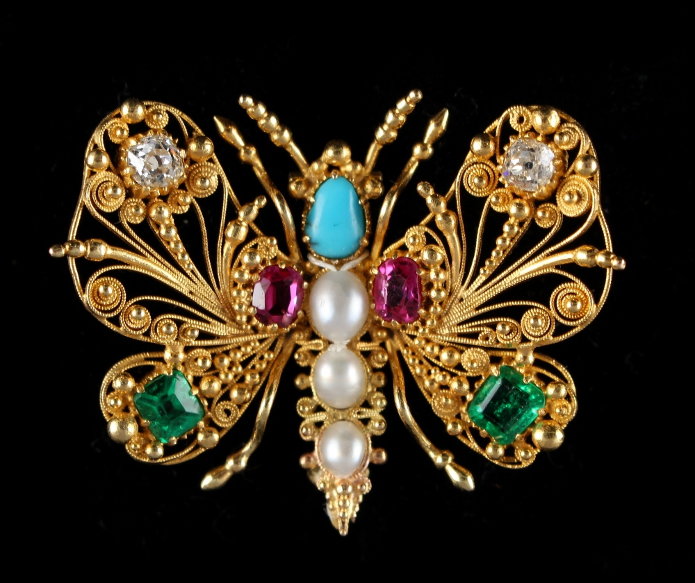 Lot 246 - A good late Georgian cannetille ruby emerald diamond turquoise & pearl butterfly brooch, circa
