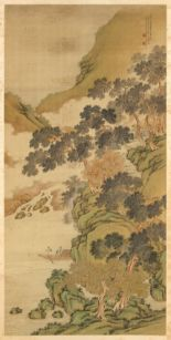 Lot 515 - A good Chinese scroll painting on silk depicting a mountainous landscape with three figures in a