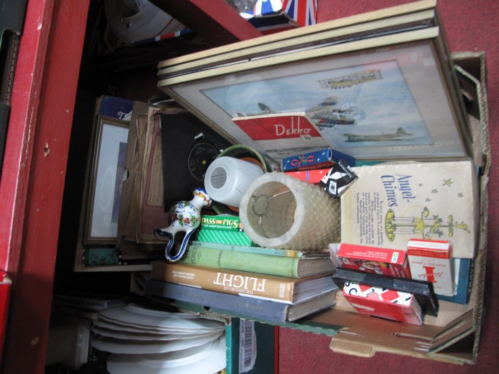 Lot 52 - A WWII Plane, watercolour, Dum Dum Dekko, 'Our Air Force', other publications, records, games, etc:-