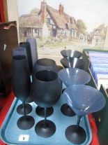Lot 9 - Thirteen Betty Jackson 'Black' Drinking Glasses:- One Tray