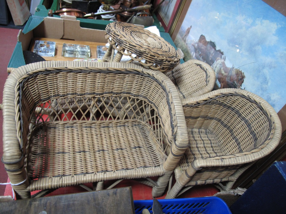 Lot 5 - Dolls Wicker Patio Furniture, lounger, table, settee and chair.