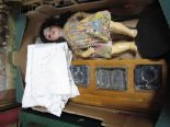 Lot 4 - A Late XIX/Early XX Century Bisque Head Doll (damaged), inkstand, table mats etc:- One Box