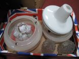 Lot 53 - Two Early XX Century Ceiling Lights, pair of moulded glass shades etc:- One Box