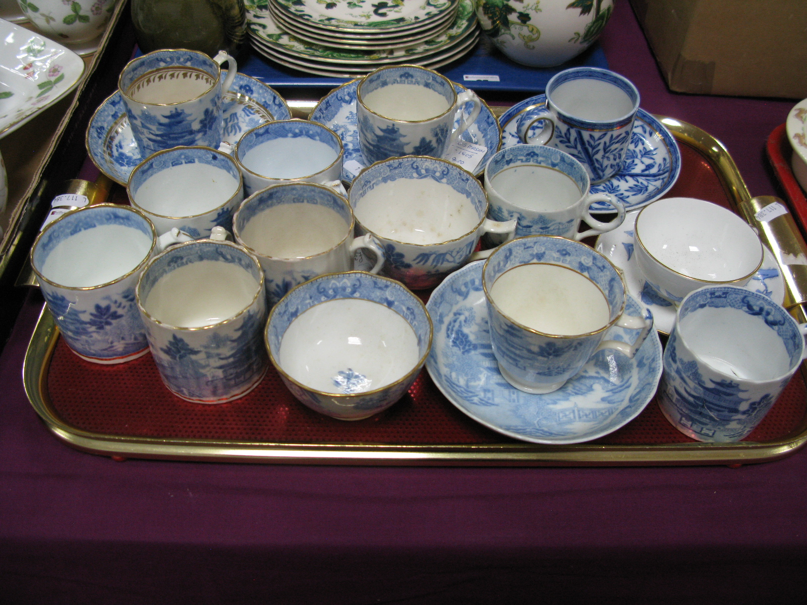 Lot 26 - Miles Mason Cups and Saucers, single cups, Davenport cup and saucer etc:- One Tray