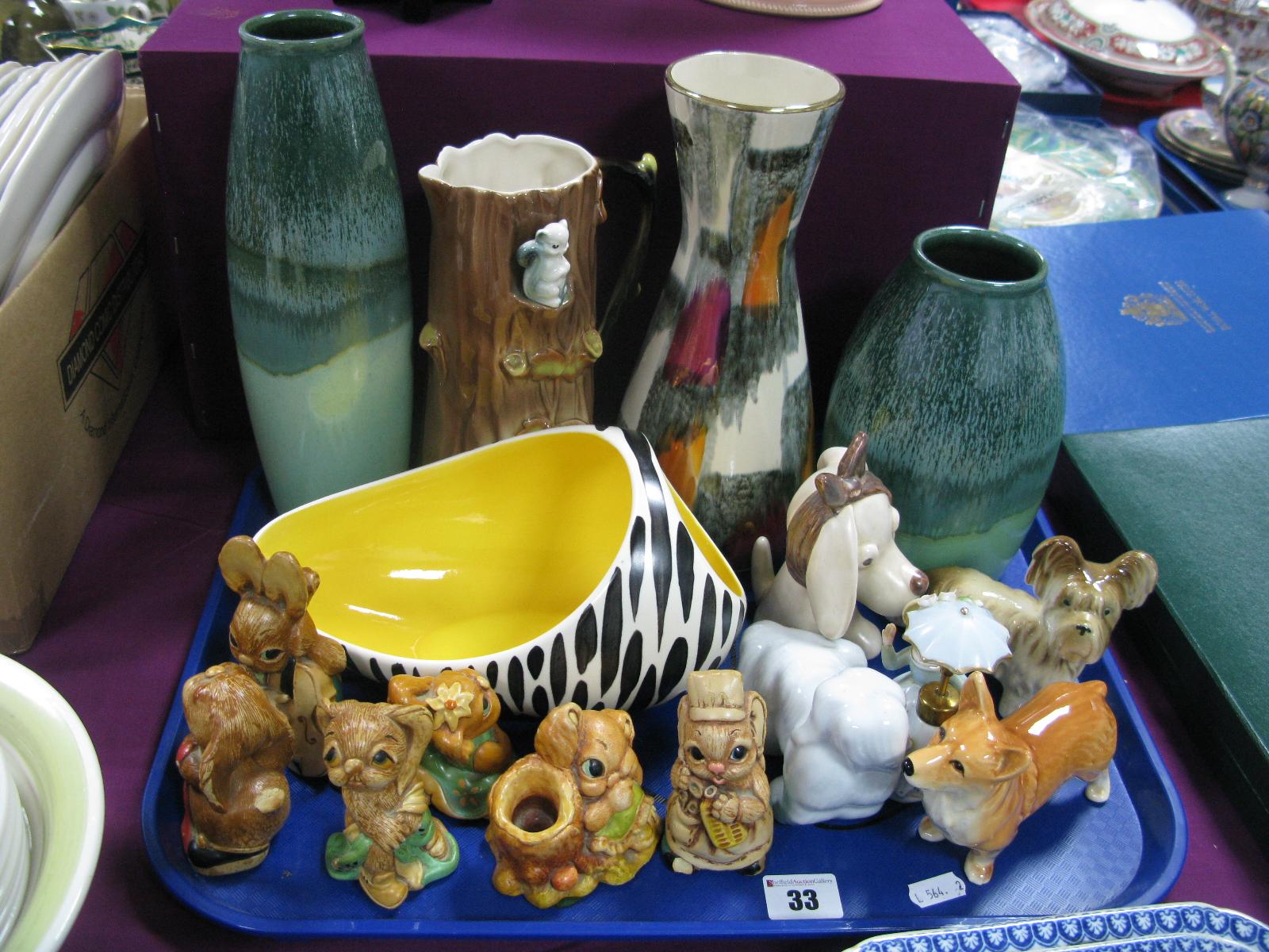 Lot 33 - Scheurich, Amano and other German Vases, Hornsea fauna jug, Beswick zebra posy, Sylvac, Pendelfin,