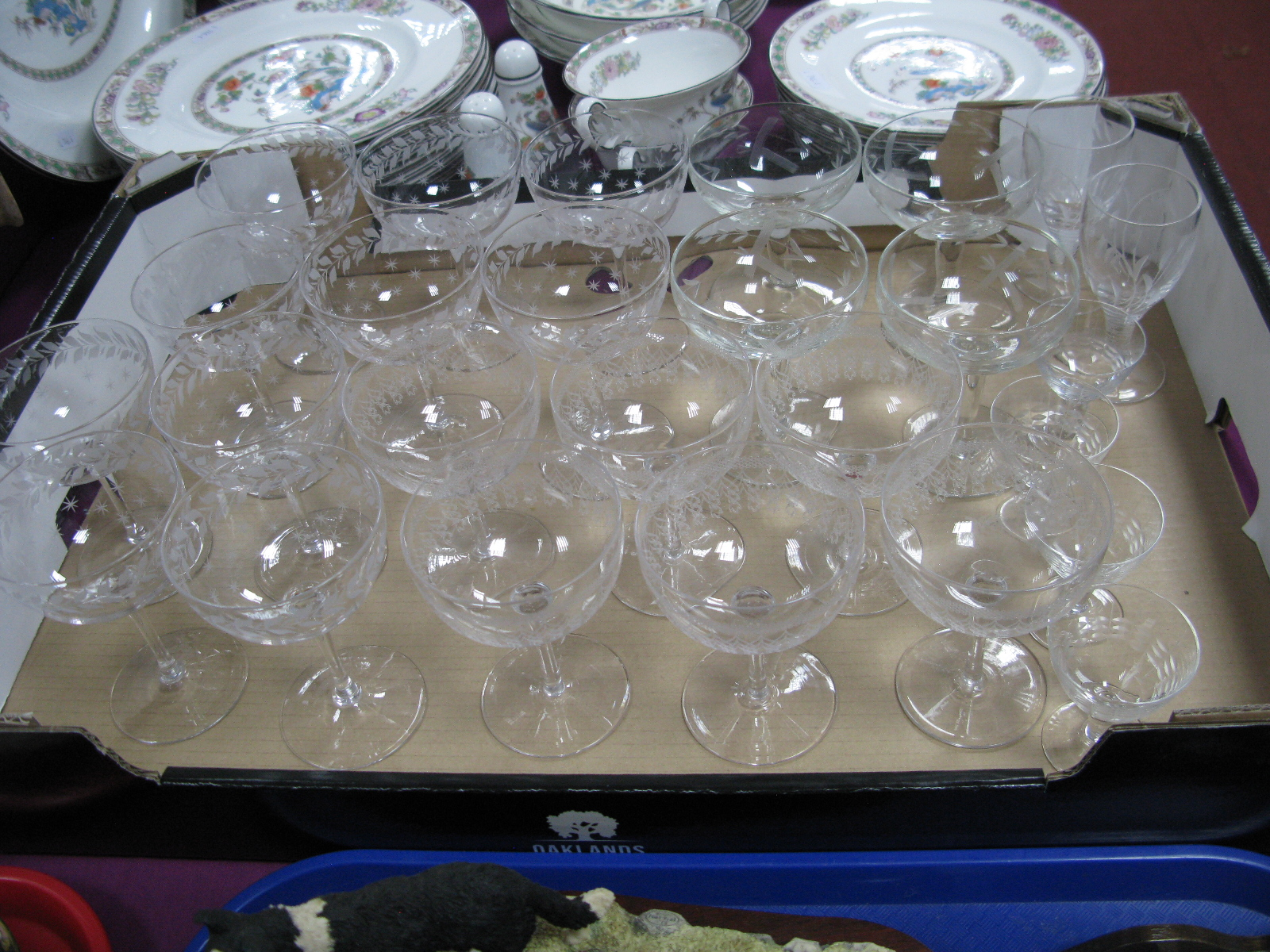 Lot 22 - Ten Early XX Century Etched Champagne Glasses, (matched), a further set of six, ten other drinking