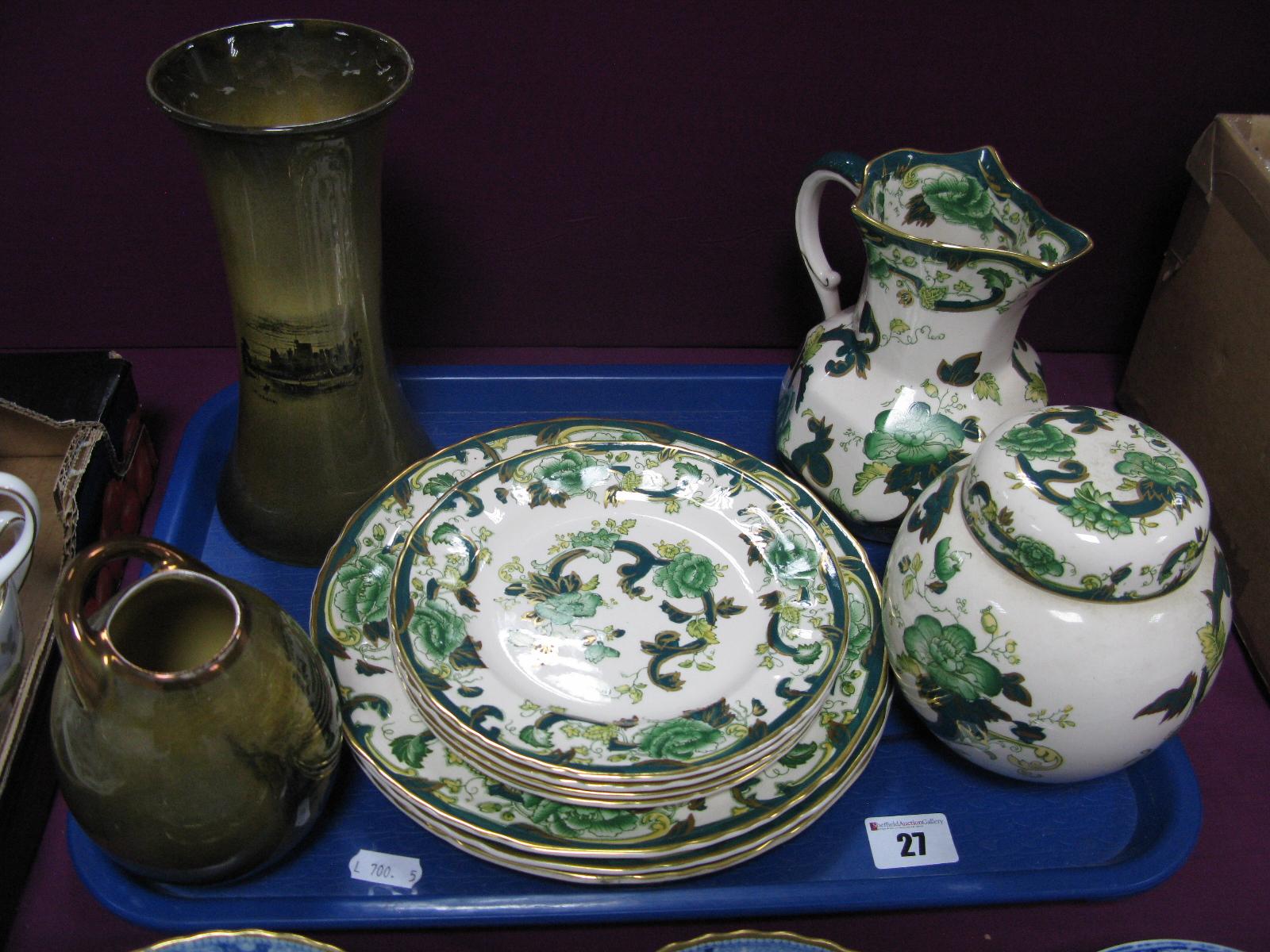 Lot 27 - Masons 'Chartreuse' Ginger Jar, octagonal jug and seven plates, Royal Vistas vases:- One Tray