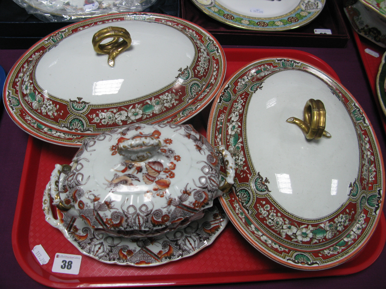 Lot 38 - A Pair of XIX Century Ashworth Ironstone Oval Tureens and Covers; a Mason's sauce tureen, cover