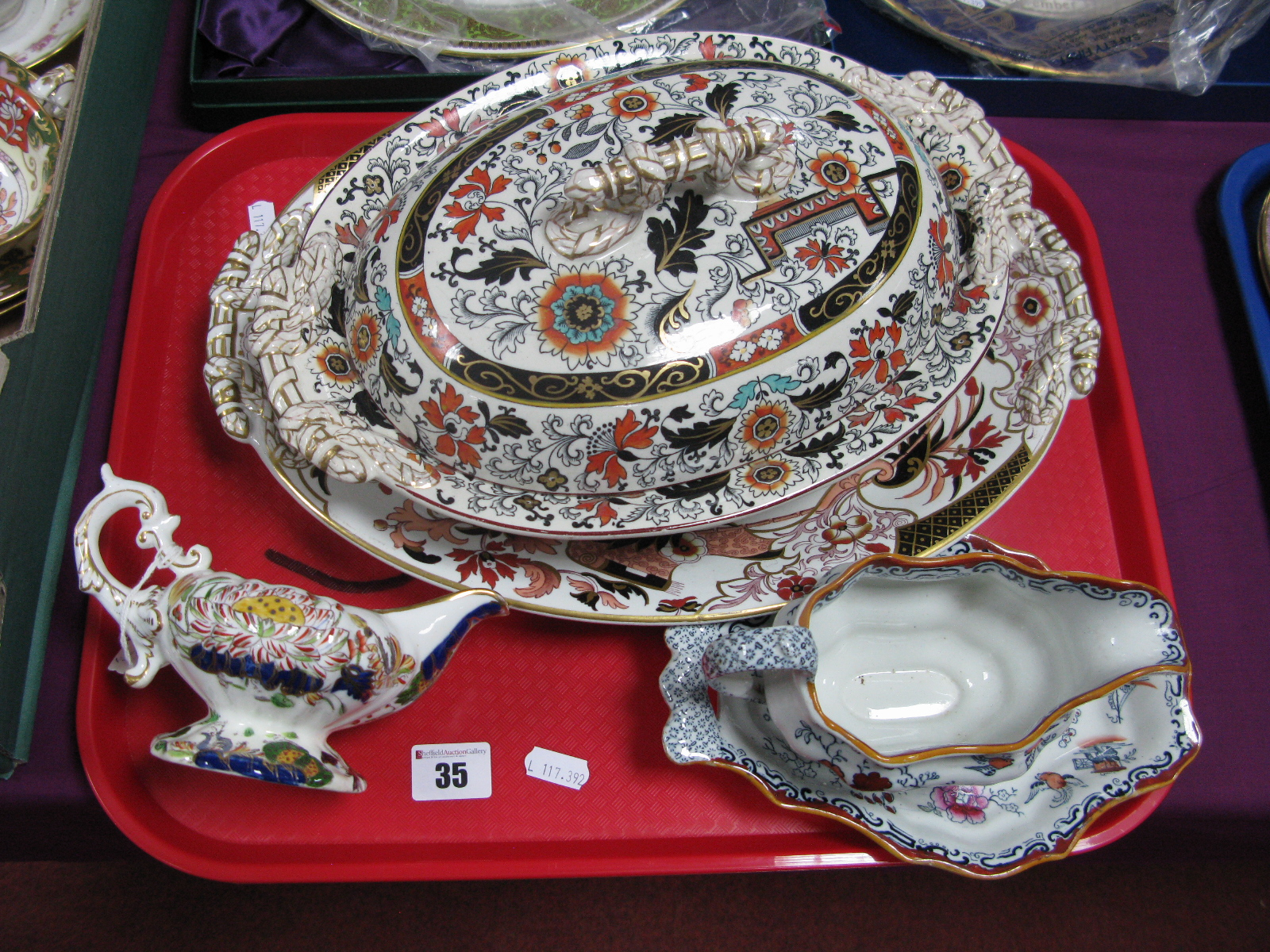 Lot 35 - An Ashworth Ironstone Tureen and Cover, similar stand, sauce boat and cream jug:- One Tray