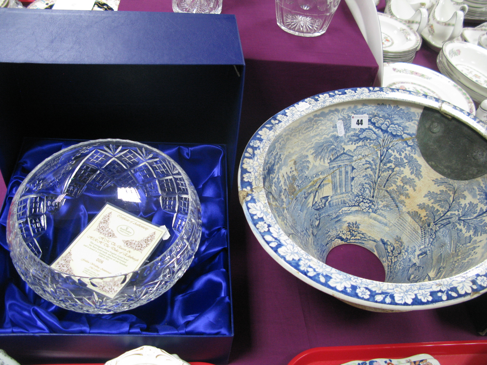 Lot 44 - A XIX Spode Eathernware Toilet Basin, blue and white transfer print decoration of figures within a