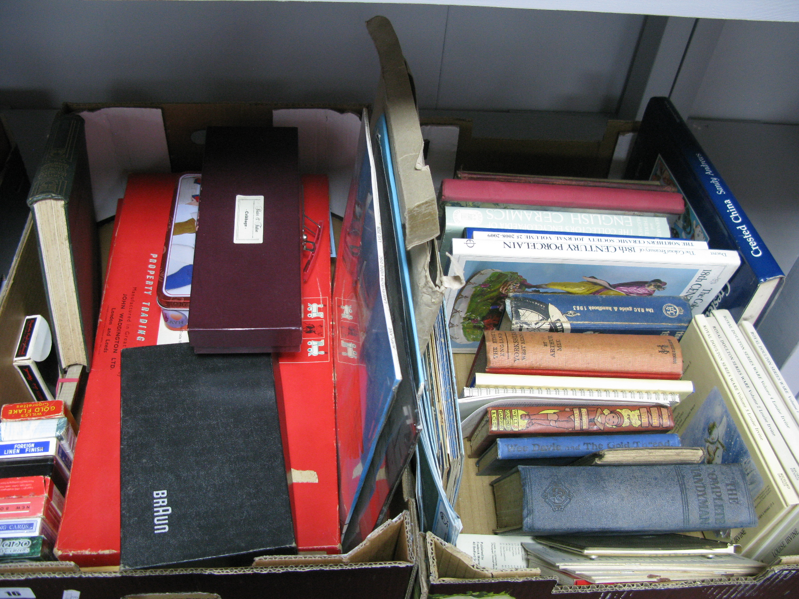 Lot 16 - Monopoly (2), playing cards, football programmes, Peter Piper and other annuals, Antique guides,