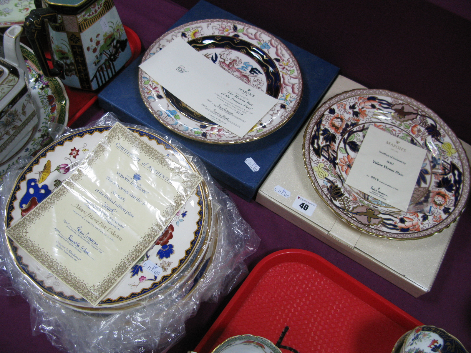 Lot 40 - Nine Mason's Ironstone Historic Plate Collection Plates; The Mason's Year of The Dragon plate and '