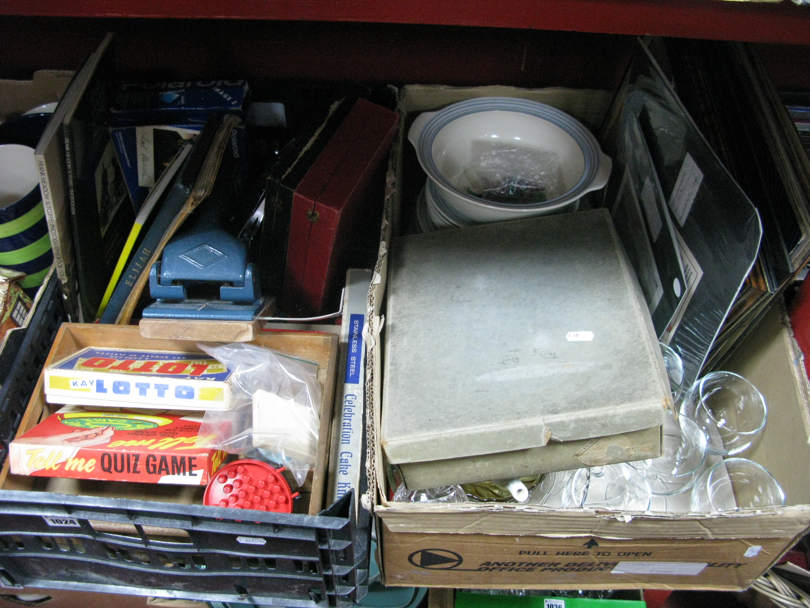 Lot 1024 - Records, Whitby reprints, games, Polaroid camera, cutlery, dolls tea ware etc:- Two Boxes