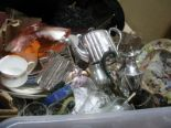 Lot 1056 - A Brittania Metal Tea Service, hot water jug, carnival dish, other glassware, china, etc:- One Box