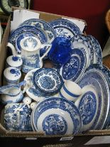 Lot 1003 - Blue and White Wares, Rington's teapot, paperweights, toast rack, dinner and cabinet plates,