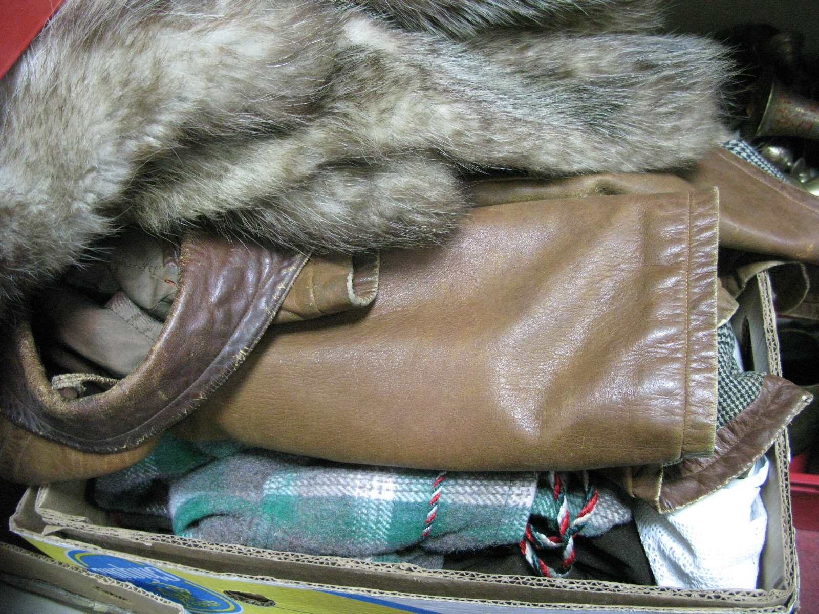 Lot 1018 - Leather Coat, dressing gown, fur style coat, etc:- One Box