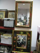 Lot 1051 - Two Floral Framed Rectangular Wall Mirrors.
