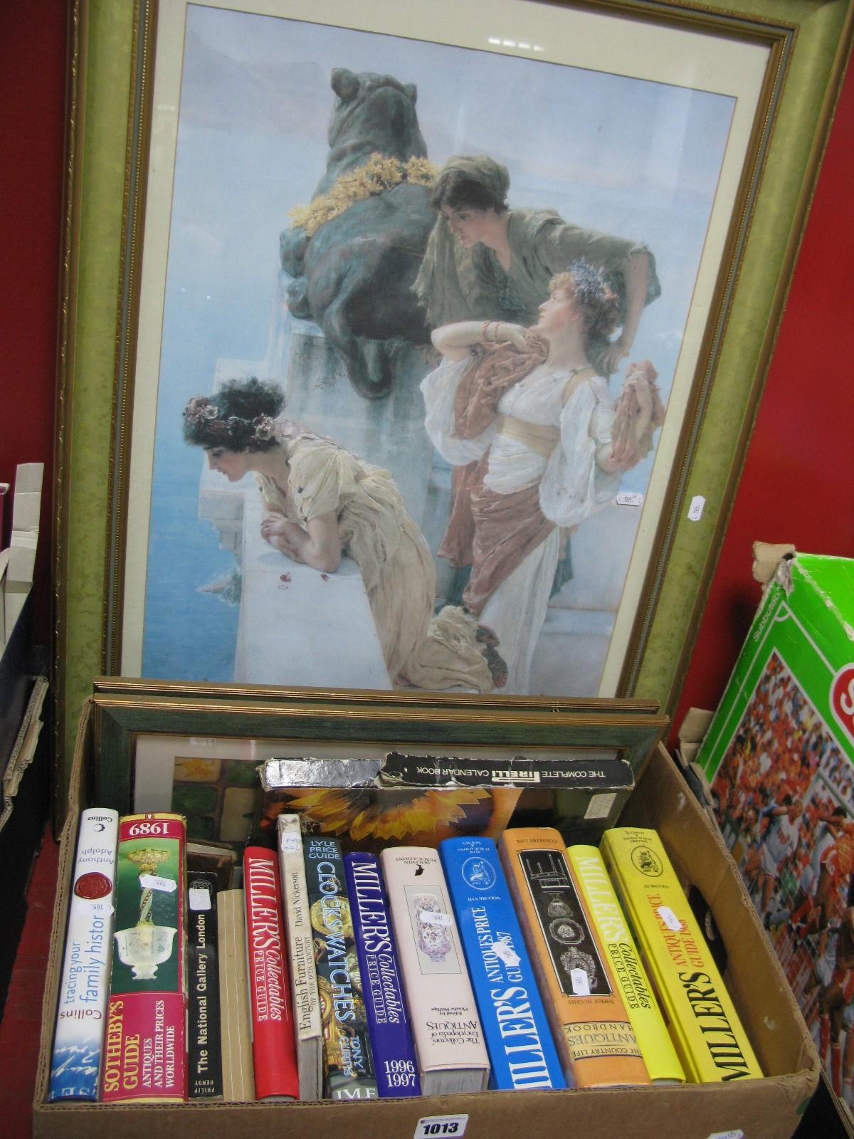 Lot 1013 - Coloured Print of Three Maidens, 66.5 x 45cm, quantity of antique collectors books, prints.