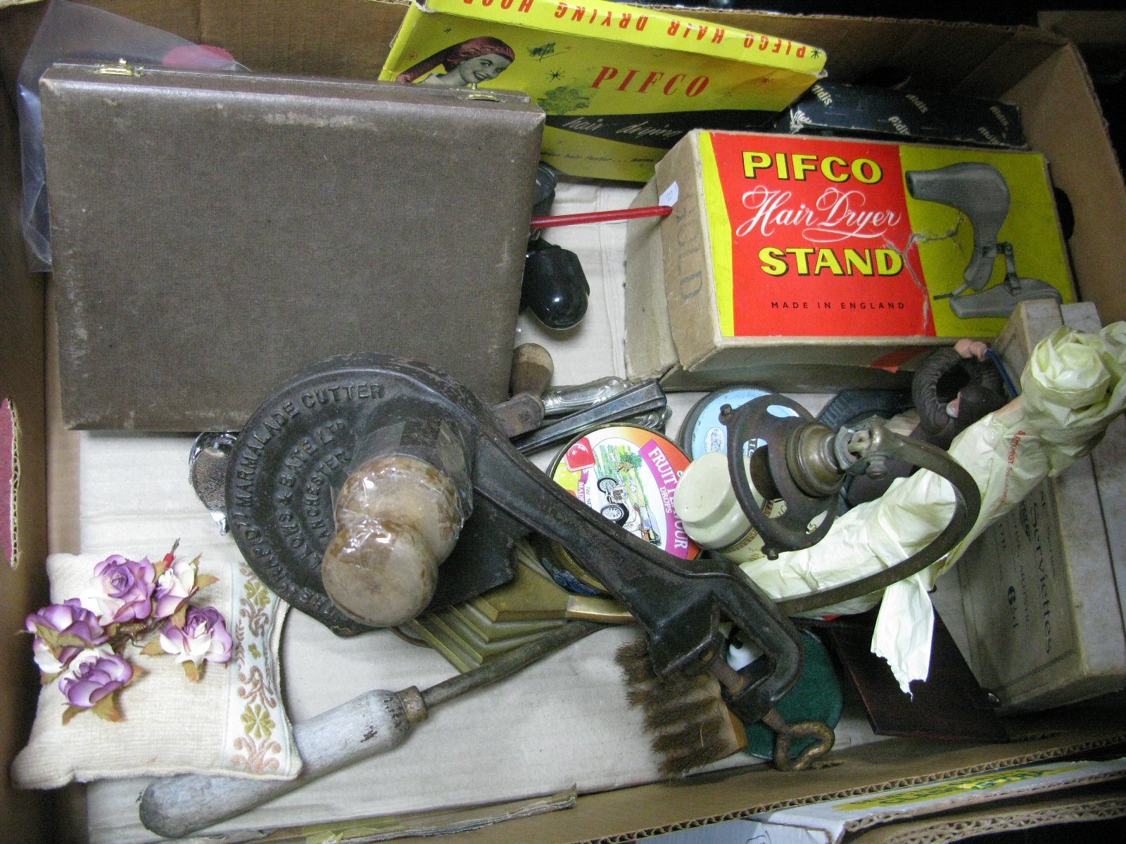 Lot 1019 - Ard Deco Hall Lamp, 'Rapid' marmalade cutter, Pifco stand, Japanese napkins etc:- One Box