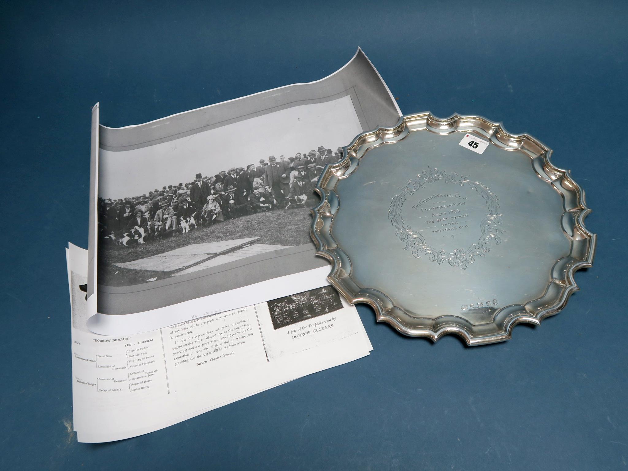Lot 45 - A Hallmarked Silver Salver, Alexander Clark & Co, Birmingham 1934, of shaped circular form, engraved
