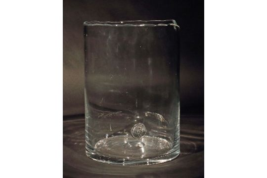 Bodenvaseum 1970 Farbloses Glas Modellgeblasen Zylindrische Vase
