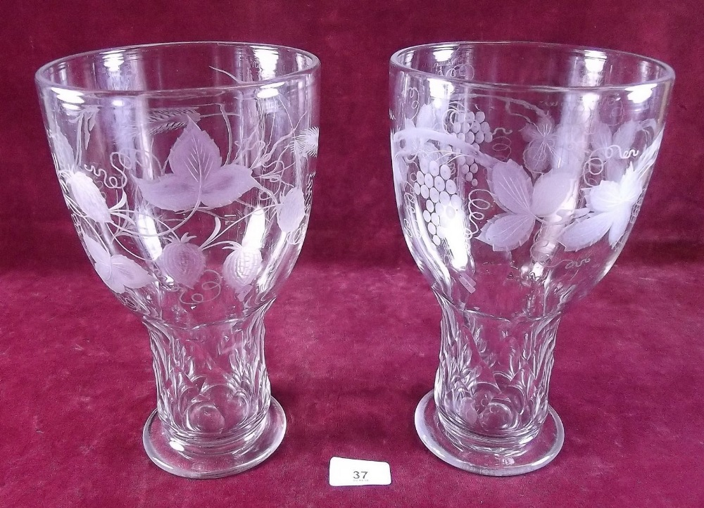 Lot 37 - A pair of Victorian large blown glass vases with cut and etched decoration, 25cm