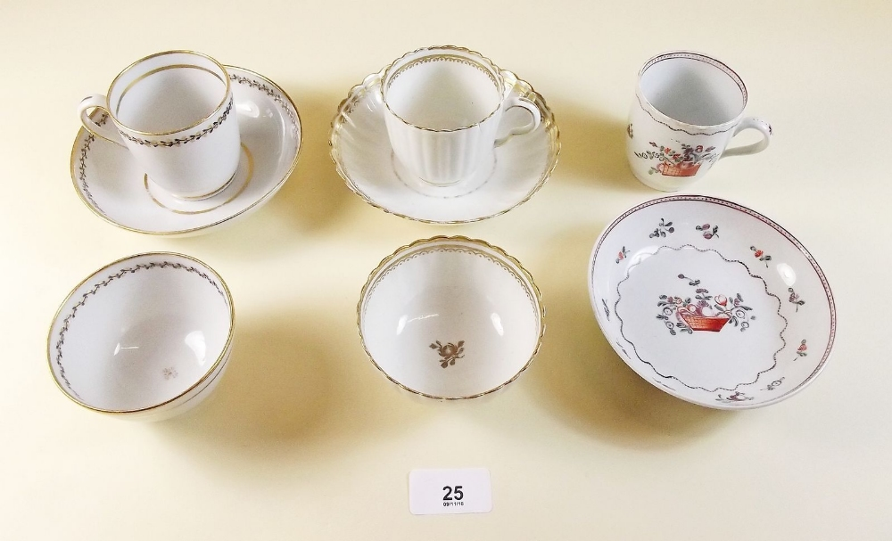 Lot 25 - A Newhall porcelain trio, a Newhall cup and saucer and a Caughley trio - circa 1790
