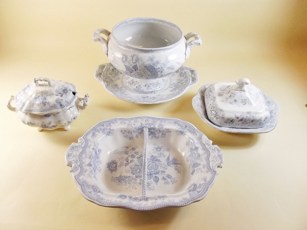 Lot 18 - A collection of Adriatic pheasant dinner ware comprising three meat plates, soup tureen, sauce