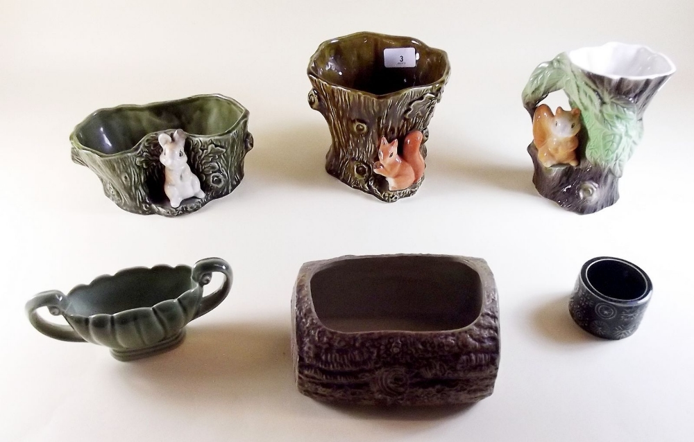 Lot 3 - A group of Sylvac, Hornsey and Wade tree trunk ware etc