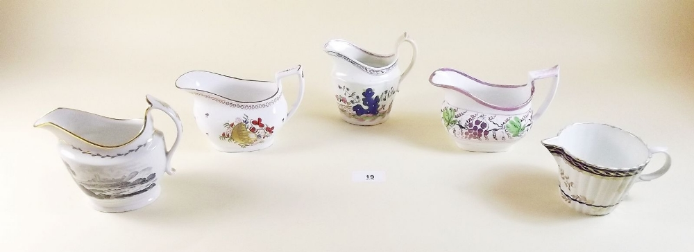 Lot 19 - A collection of five early 19th century jugs including Thomas Rose, Coalport and Keeling -