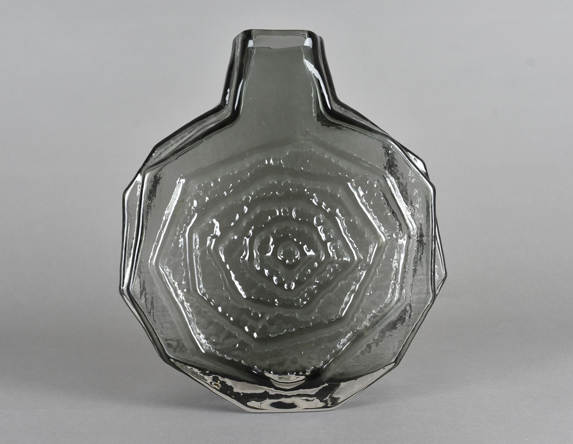 Geoffrey Baxter for Whitefriars, a Textured glass range 'Banjo' vase pattern 9681 in Pewter, 30 cm