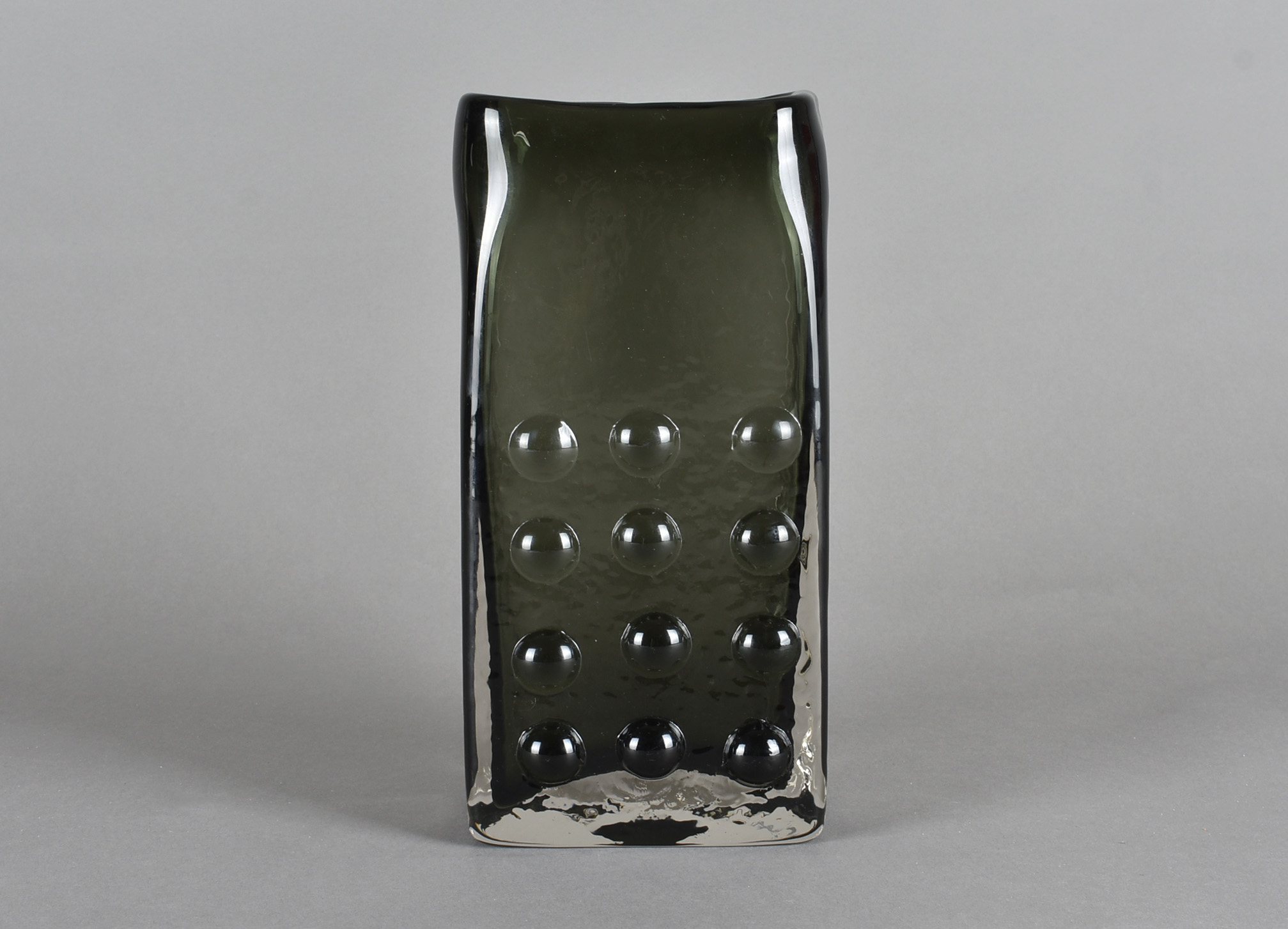 Geoffrey Baxter for Whitefriars, a Textured glass range 'Mobile Phone' slab vase in Willow 27cm. N.